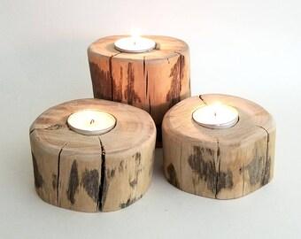 Rustic Wooden Candle Holder, Tea Light Set, Primitive Home Decor (Set of 3)