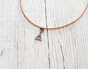 Coral leather necklace and pendant