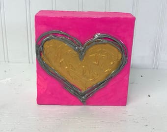 4x4 Heart Painting on Wood Block