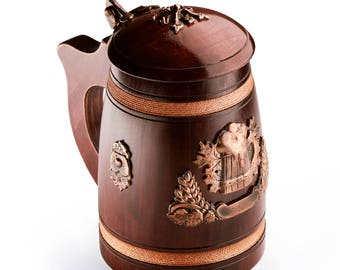 Impressive Handmade Wooden Beer Mug With Lid - Oak Wood Pint Beer Stein Tankard - Gift For Craft Beer Enthusiasts