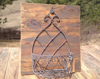 Grey Farmhouse Basket on Reclaimed Pine