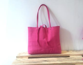 Pink fucsia leather suede handmade tote bag