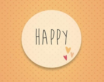 Card with words LOVE - HELLO - HAPPY