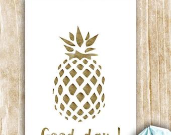 "Card ""Good Day"" pineapple motif"