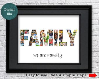 Family photo collage Family gift Family Name Sign Family friendly Any word collage Farmhouse decor Home decor Word picture collage