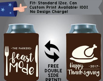 The Name's Feast Mode Happy Thanksgiving Collapsible Fabric Thanksgiving Custom Can Cooler Double Side Print (Etsy-Thanksgiving04)