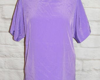 Size 12 vintage 80s batwing short sleeve blouse crew neck silky purple (HG39)