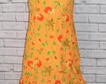 Size 10 vintage 80s strappy a line mini sun dress orange floral print (HR72)