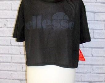 Size 18 vintage 90s style Ellesse crop t shirt top black sheer mesh BNWT