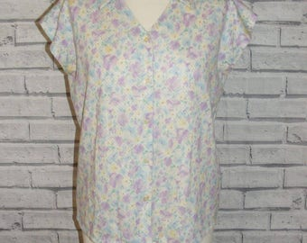 Size 14 vintage 80s batwing capsleeve loose blouse stretchy pastel floral (IC98)