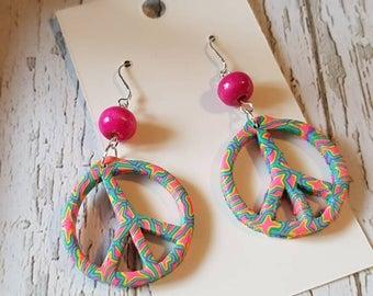 Handmade peace sign dangle earrings