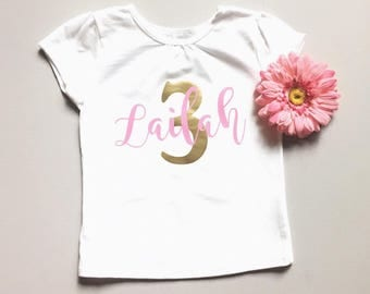 Pink and gold birthday shirt one birthday shirt two birthday shirt three shirt first second third fourth fifth birthday personalized name