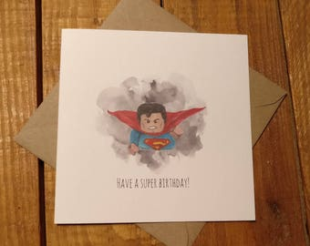 LEGO Superman inspired birthday card  watercolour design greetings card