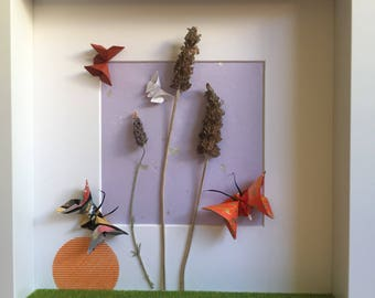 Handmade 3D Framed Wall Art decor Origami Washi Paper Butterfly with Dried Lavender