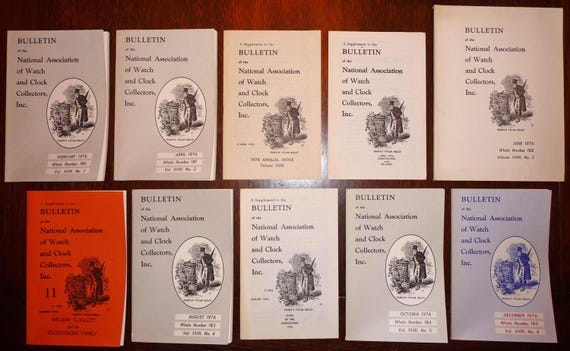 Bulletin of the National Association of Watch and Clock Collectors (NAWCC) 1976 Full Year + Supplement 11