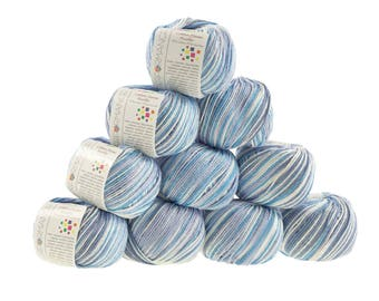 10 x 50g Strickgarn Cotton Flame Picollo, #9056 blau- flieder