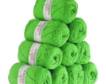 10 x 50g knitted yarn TEREZKA 100% cotton, #119 Green
