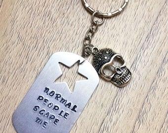 Normal people scare me, handmade keyrings, funny keyrings, skull keyring, novelty gift, American horror story accessories, ahs accessories