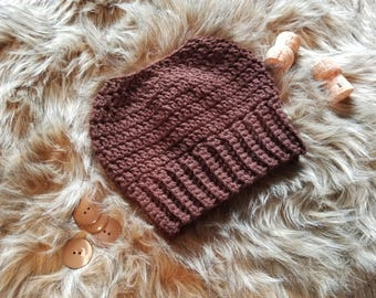Crochet Messy Bun Beanie, Crochet Messy Bun Hat, Crochet Hat, Winter Hat, Ponytail Hat