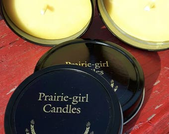6oz black tin candle.
