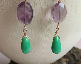 Chrysoprase and amethyst earrings