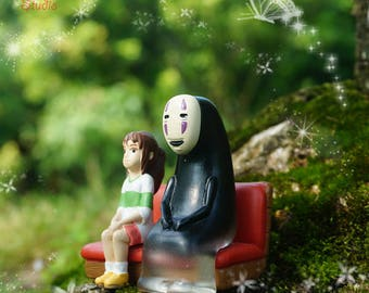 Spirited Away Characters , No Face Man and Girl Sit on Train bench , Ghibli Studio Fairy Garden Supplies Succulent Terraium Accessories