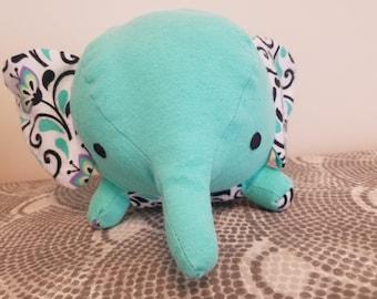 Teal elephant stuffed animal // Stuffed Elephant // Handmade Elephant with floral accent