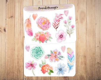 Watercolour floral and fauna stickers