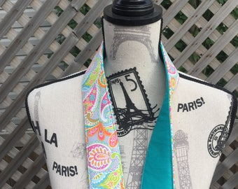 Padded DSLR Camera Strap-Deluxe Fabric - Fully reversible - Grey back w/ lime green/pink/orange/blue paisley pattern paired w/ a teal solid