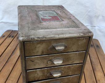 Vintage Retro Shabby Chic Super Cool The New File A WAY Chest 4 Drawer Cabinet by Steelmaster Inc. Chicago, IL