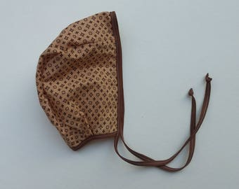 Brown geometrical  print cotton baby bonnet 0-3 months