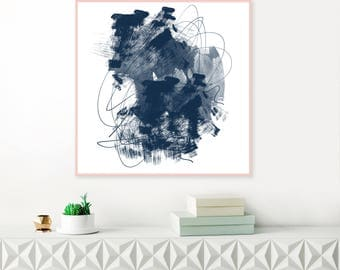 Blue Abstract Art, Blue Abstract Painting, Printable Wall Art, Instant Download, Abstract Watercolour Painting
