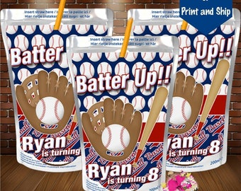 Baseball Capri Sun label-juice label-birthday party favor-Baseball birthday-Baseball banquet-Baseball baby shower-gender reveal-DIGITAL FILE