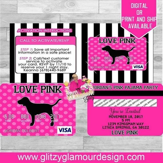 Pink inspired credit card invitations pink invitations 16th il570xn filmwisefo