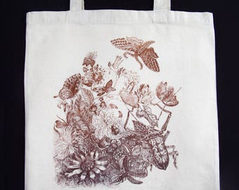 drawing original etching, aquatint, plants, insects, butterflies, unbleached cotton bag