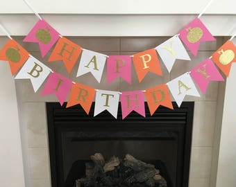 Pumpkin Birthday Banner, Girl Birthday Banner, Happy Birthday, Fall Birthday Decoration, Pumpkins, First Birthday, Photo Prop
