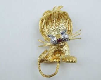 Retro 18k ruby sapphire diamond  lion brooch #10253