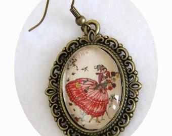 Fashion engraving walk dress crinoline, earrings red and bronze earrings, dress has crinoline, oval earrings