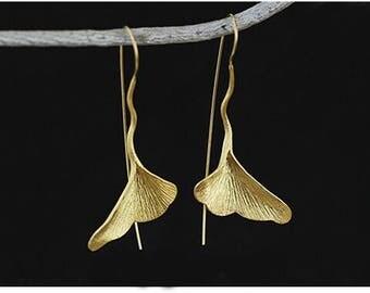 Sterling Ginkgo Leaf, Sterling Silver Earring, 925 Silver Earring, Silver Earrings, Sterling Silver,Dangle Earrings,Minimalist Earrings,Gift