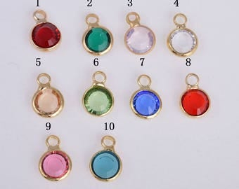 3pcs gold faceted birthstone charm, faceted beads, faceted glass beads, framed glass beads, birthstone charm, 9MM*6MM