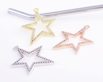 CZ star charm/pendant, north star charm/pendant, gold/rose gold/silver star charm/pendant, 27MM*21MM