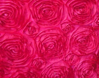 ON SALE FUCHSIA Rosette Satin Fabric 50 inches wide by the yard