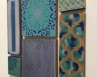 Wall art in shades of blue, turquoise and silver. Moroccan /Indian decor. 3D collage with wood.