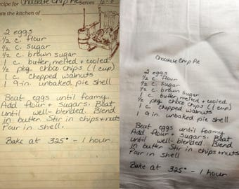 Loved Ones Handwritten Recipe turned into Tea Towel
