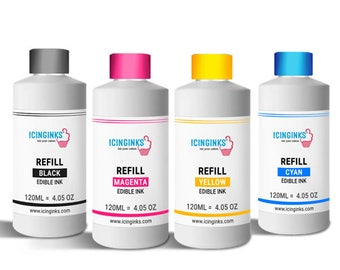 120ml or 4OZ Combo Pack Icinginks™ Edible Ink Refills (Black,Cyan,Magenta,Yellow) - 4PACK for CANON Printers