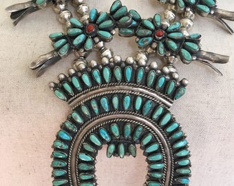 Turquoise Squash Blossom Necklace Vintage Wilford Begay Native American Sterling Silver Petit Point