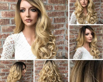 Mikayla—Lace Front Wig | Honey Blonde Ombre | Blended Synthetic and Human Hair Wigs