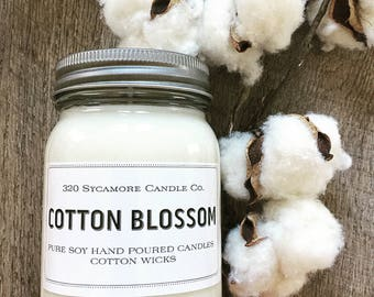 16 oz. Cotton Blossom Hand Poured Pure Soy Candle with Cotton Wick