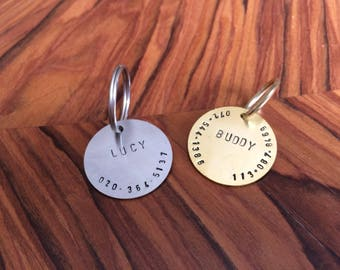 Personalized Hand Stamped Dog Tag, Custom Pet ID, Dog ID Tag , Dog Collar Name Tag , Metal Pet Tag, Brass Dog Tag, Silver Dog Tag