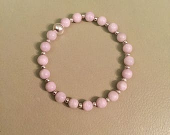 Kunzite and sterling silver stretchy bracelet